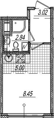 Студия 19 м<sup>2</sup> на 4 этаже