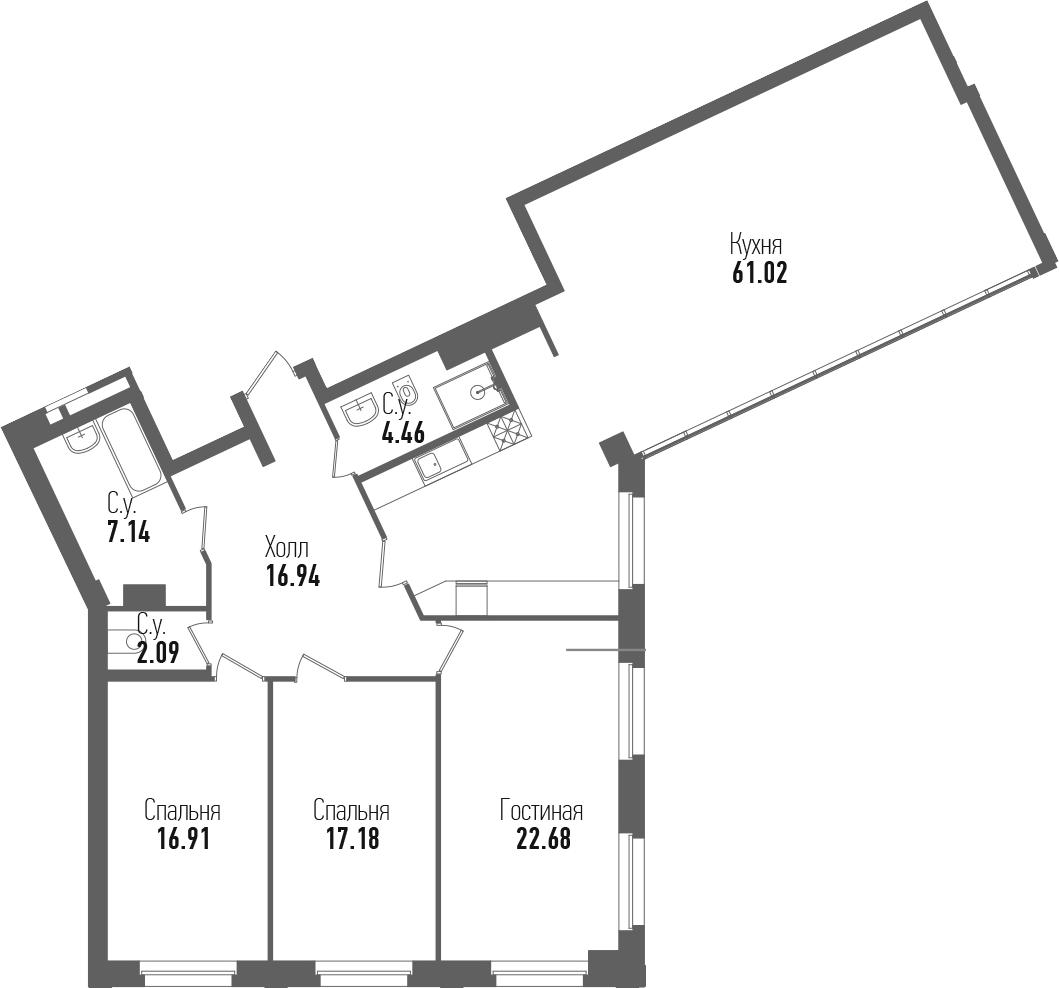 4-комнатная 148 м<sup>2</sup> на 3 этаже
