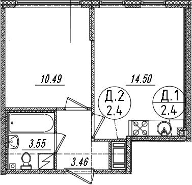 2-комнатная 32 м<sup>2</sup> на 8 этаже