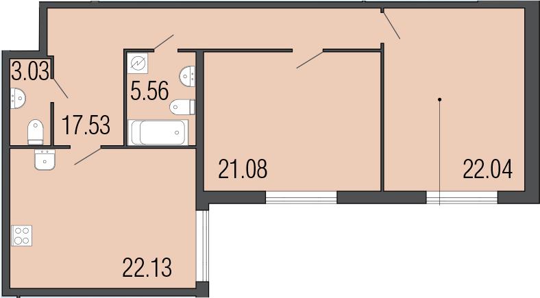 3-к.кв (евро), 91.37 м²