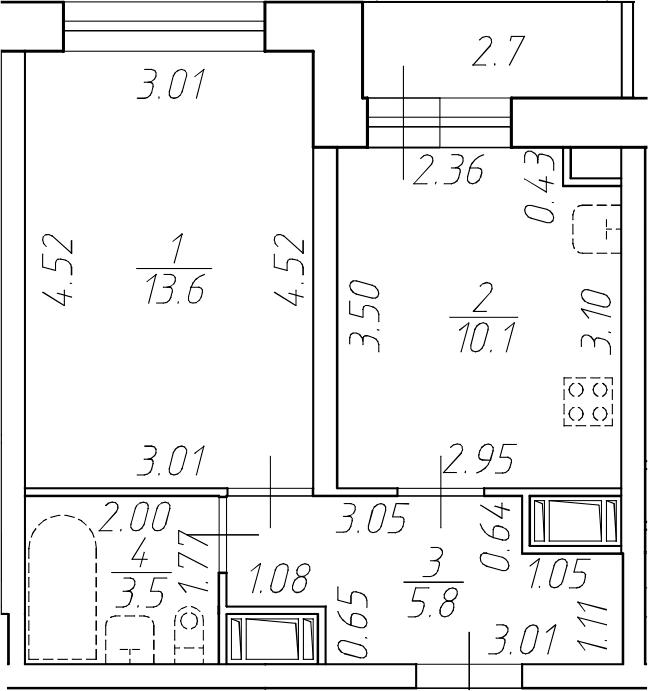 1-комнатная 35 м<sup>2</sup> на 17 этаже