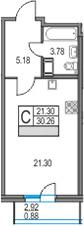 Студия 33 м<sup>2</sup> на 20 этаже