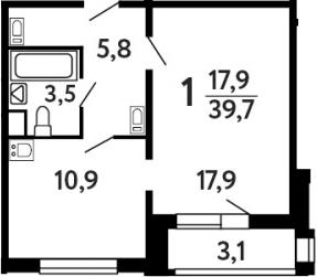 1-к.кв, 41.25 м²