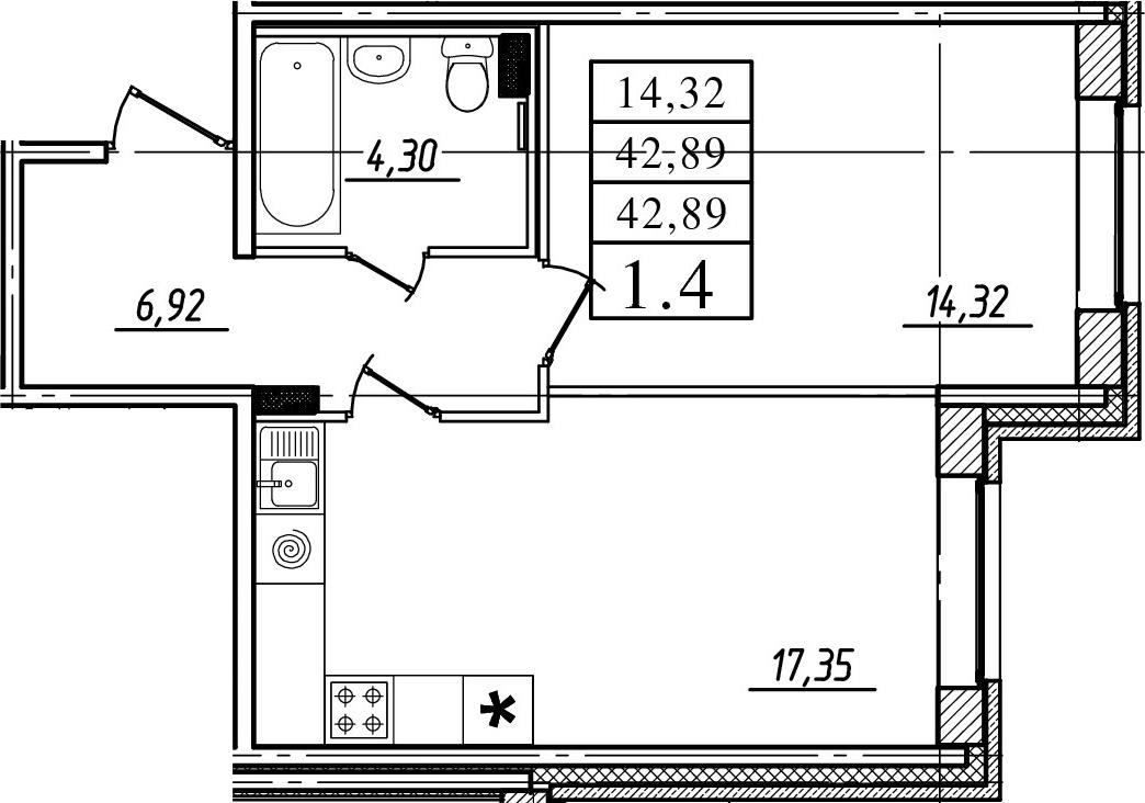 2-к.кв (евро), 42.89 м²