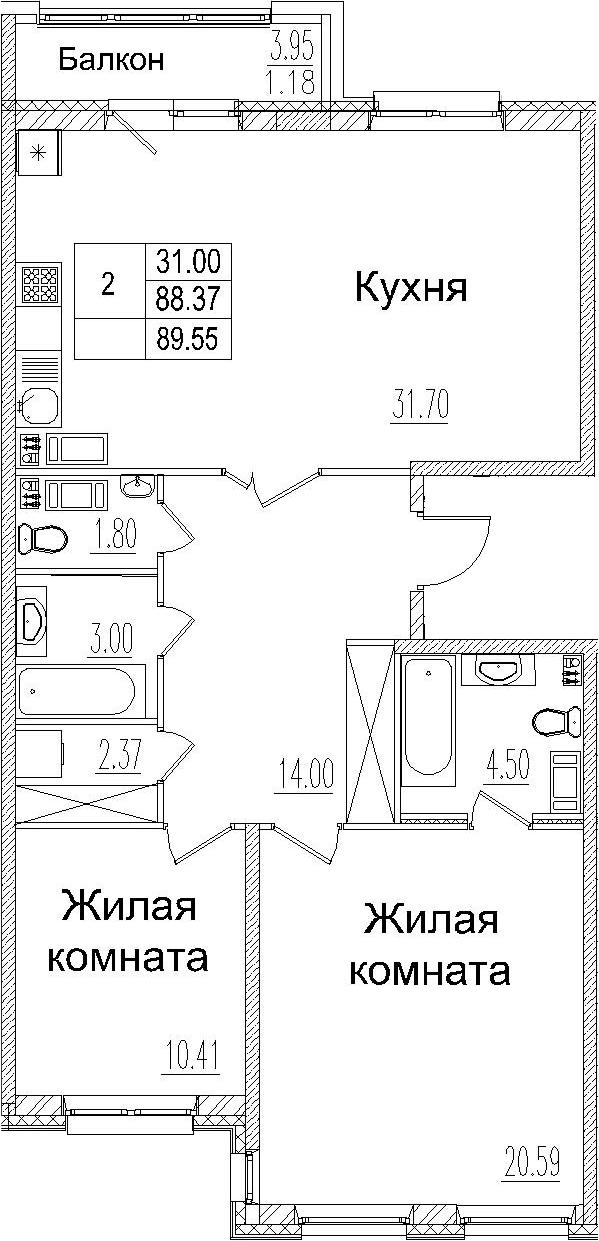 3-комнатная 92 м<sup>2</sup> на 3 этаже