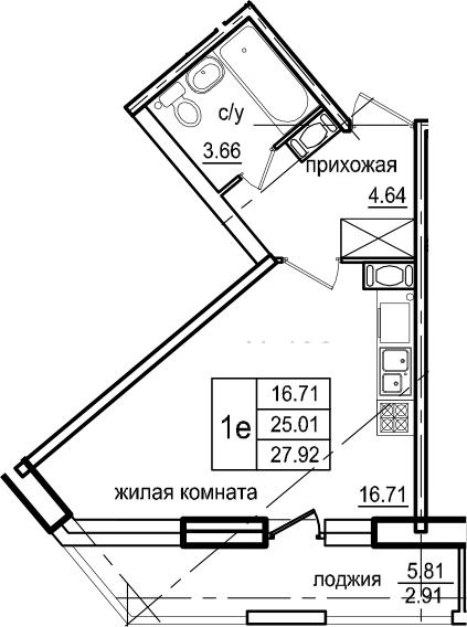 Студия 30 м<sup>2</sup> на 3 этаже