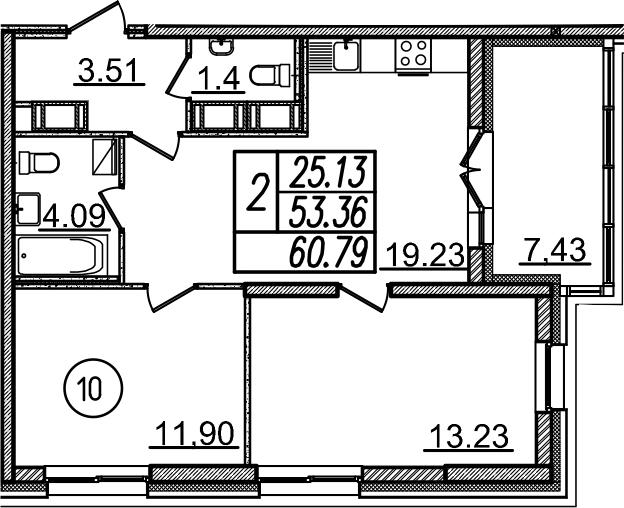 3-к.кв (евро), 60.79 м²