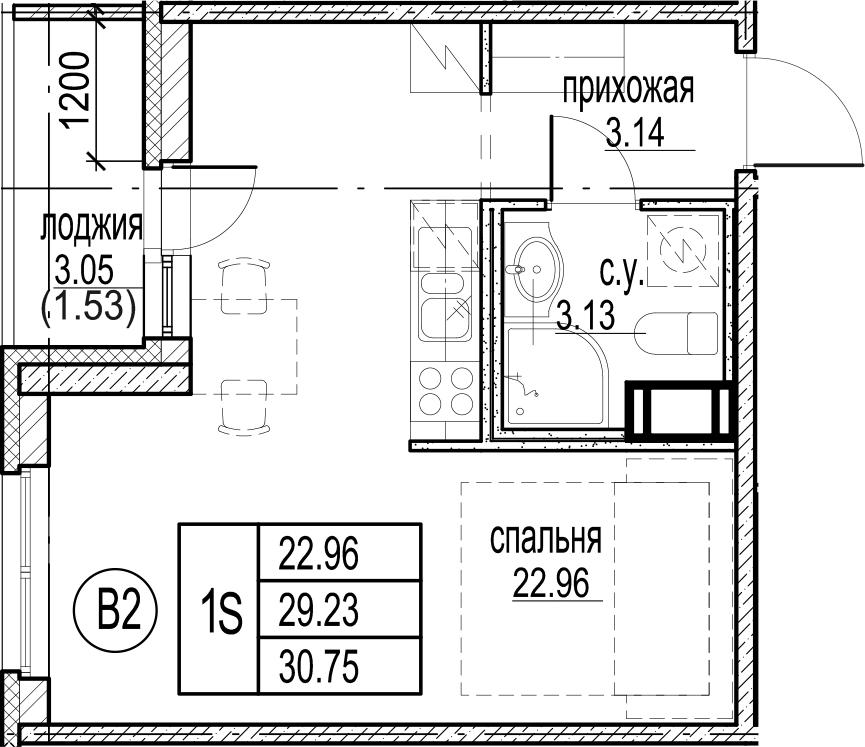 Студия 32 м<sup>2</sup> на 3 этаже