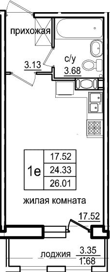 Студия 27 м<sup>2</sup> на 7 этаже