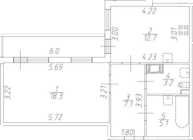 1-комнатная 52 м<sup>2</sup> на 5 этаже