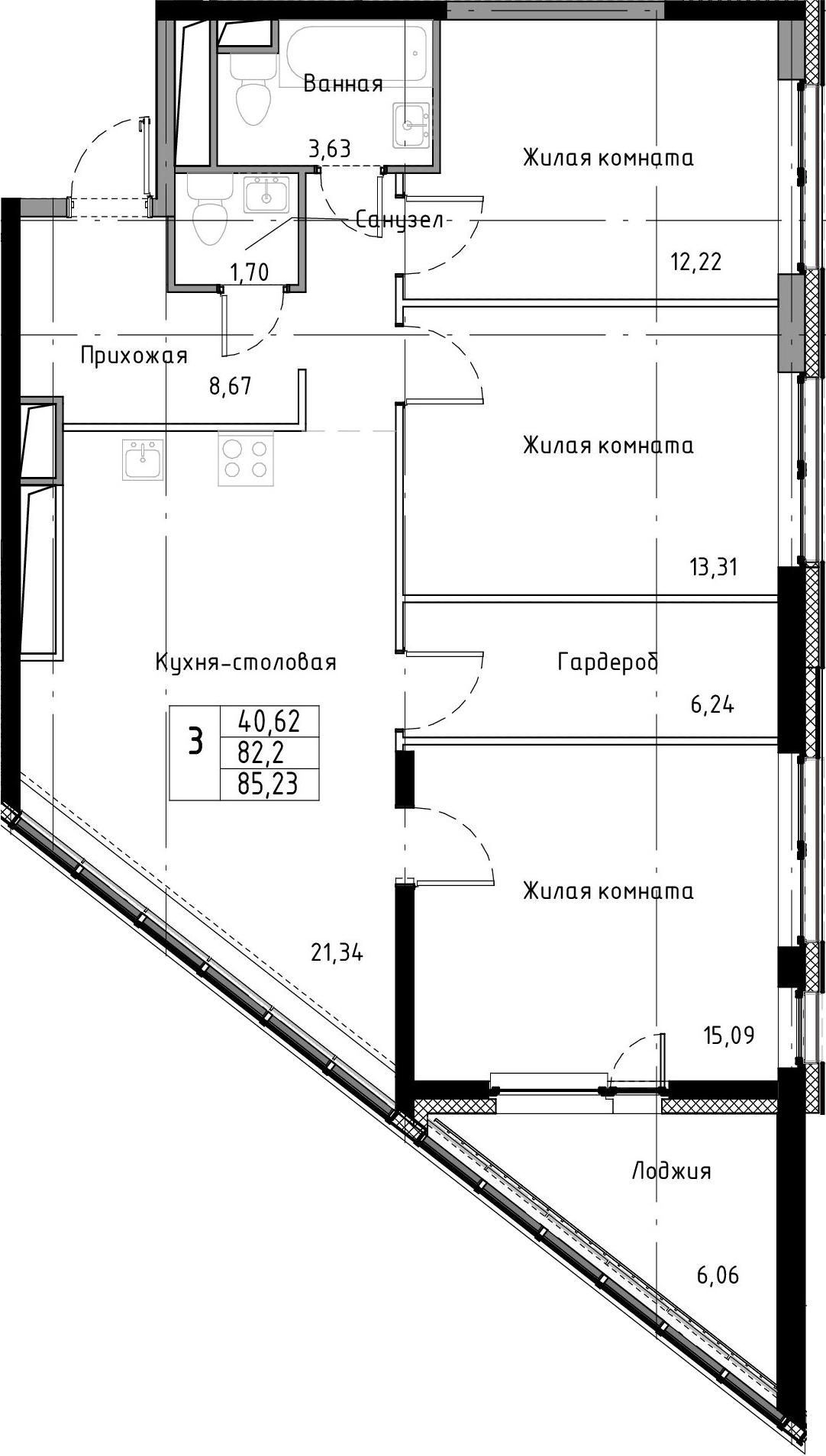 4-к.кв (евро), 88.26 м²