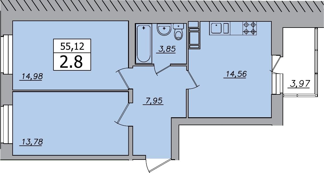 2-к.кв, 59.09 м²
