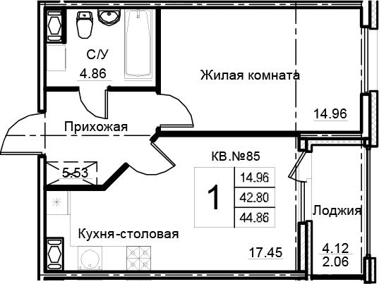 2-комнатная 46 м<sup>2</sup> на 12 этаже