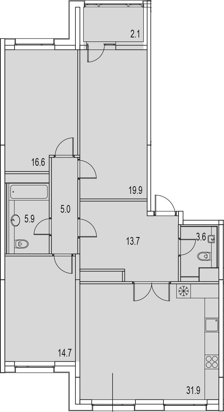 4-комнатная 115 м<sup>2</sup> на 13 этаже