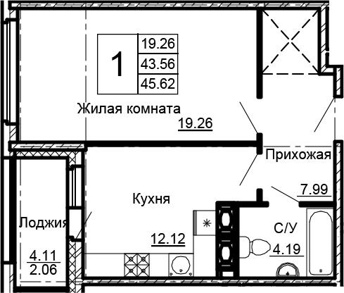 1-комнатная 47 м<sup>2</sup> на 15 этаже