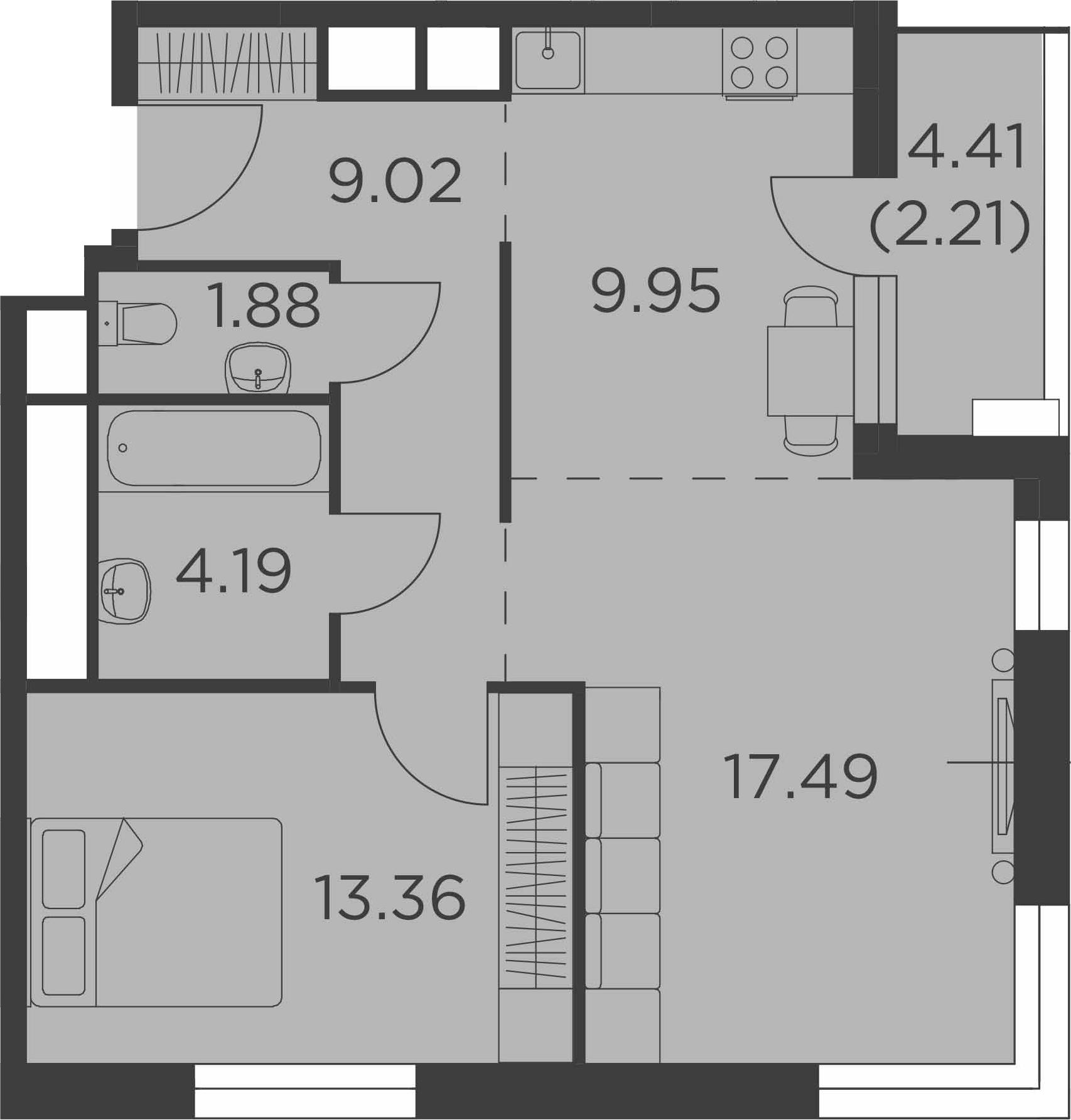2-к.кв, 60.31 м²