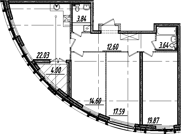 4-комнатная 98 м<sup>2</sup> на 6 этаже