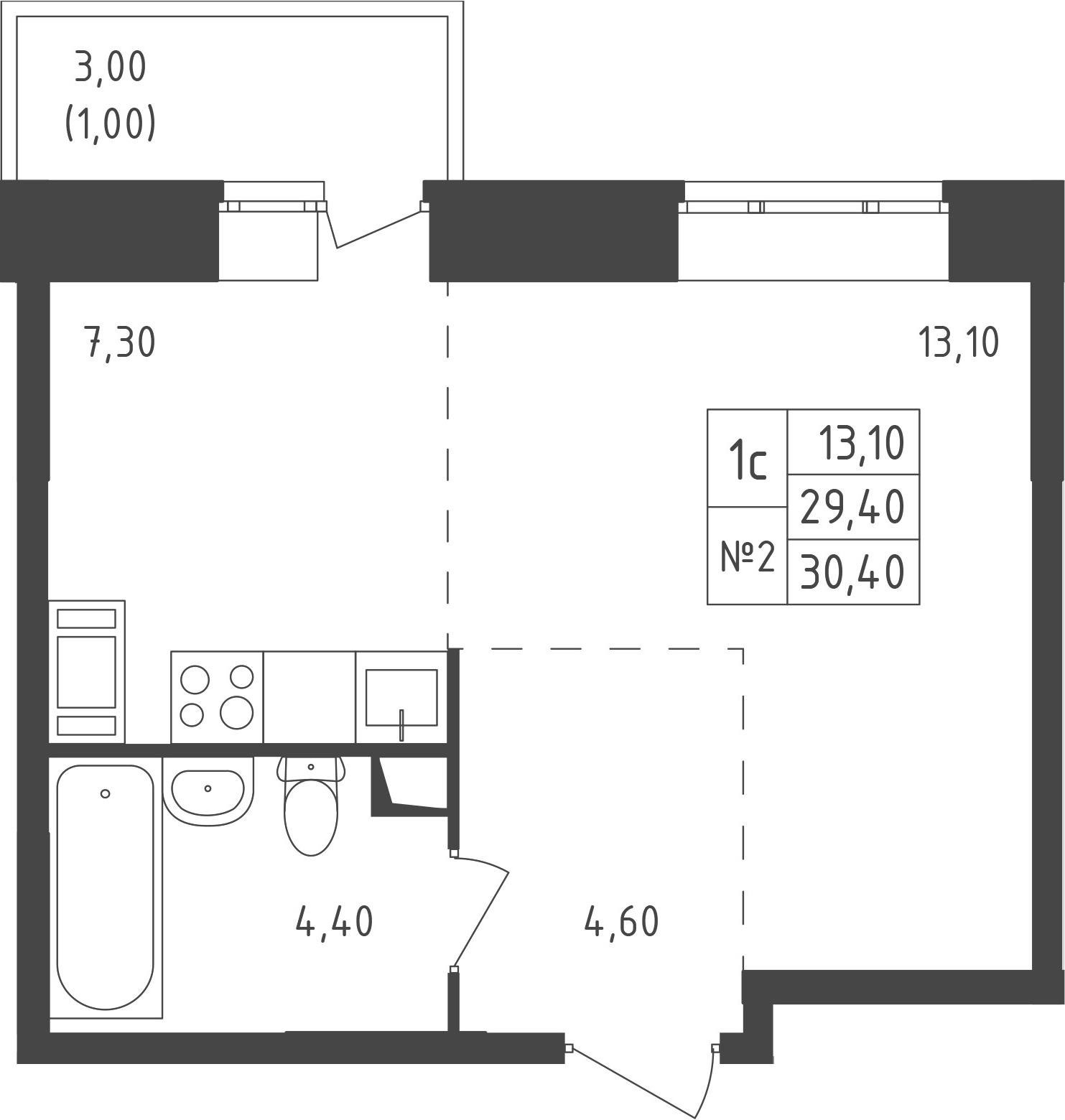 Студия, 32.73 м²