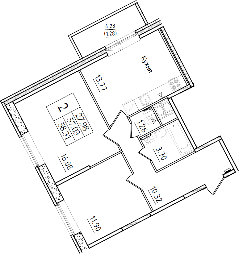 2-комнатная 61 м<sup>2</sup> на 2 этаже