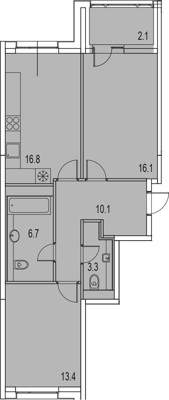 3-комнатная 70 м<sup>2</sup> на 3 этаже