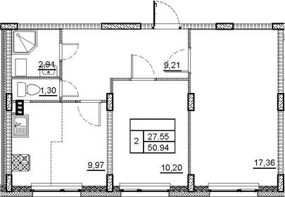 2-комнатная 50 м<sup>2</sup> на 1 этаже