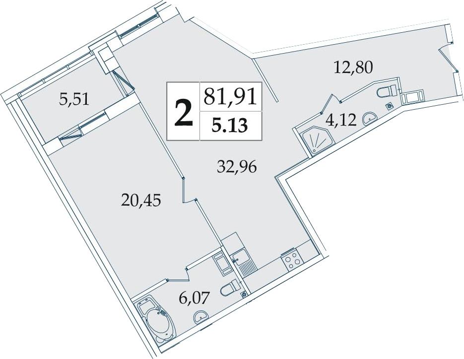 2-комнатная 81 м<sup>2</sup> на 5 этаже