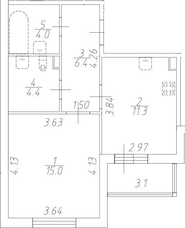 1-комнатная 44 м<sup>2</sup> на 1 этаже