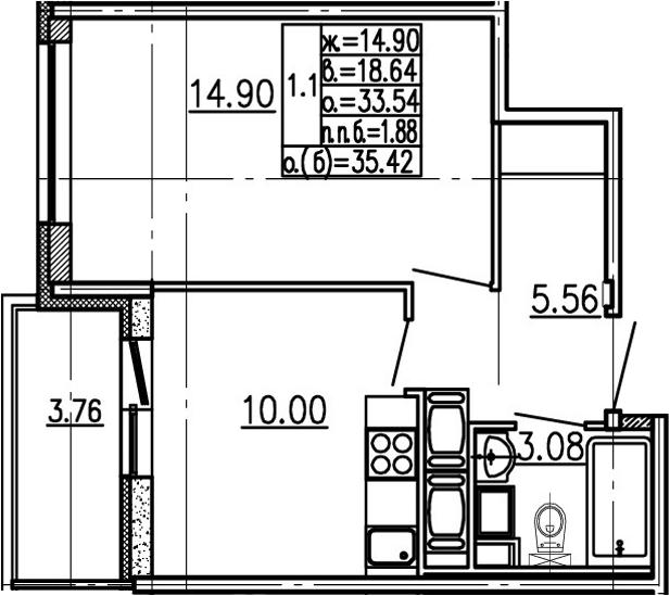 1-комнатная 37 м<sup>2</sup> на 24 этаже