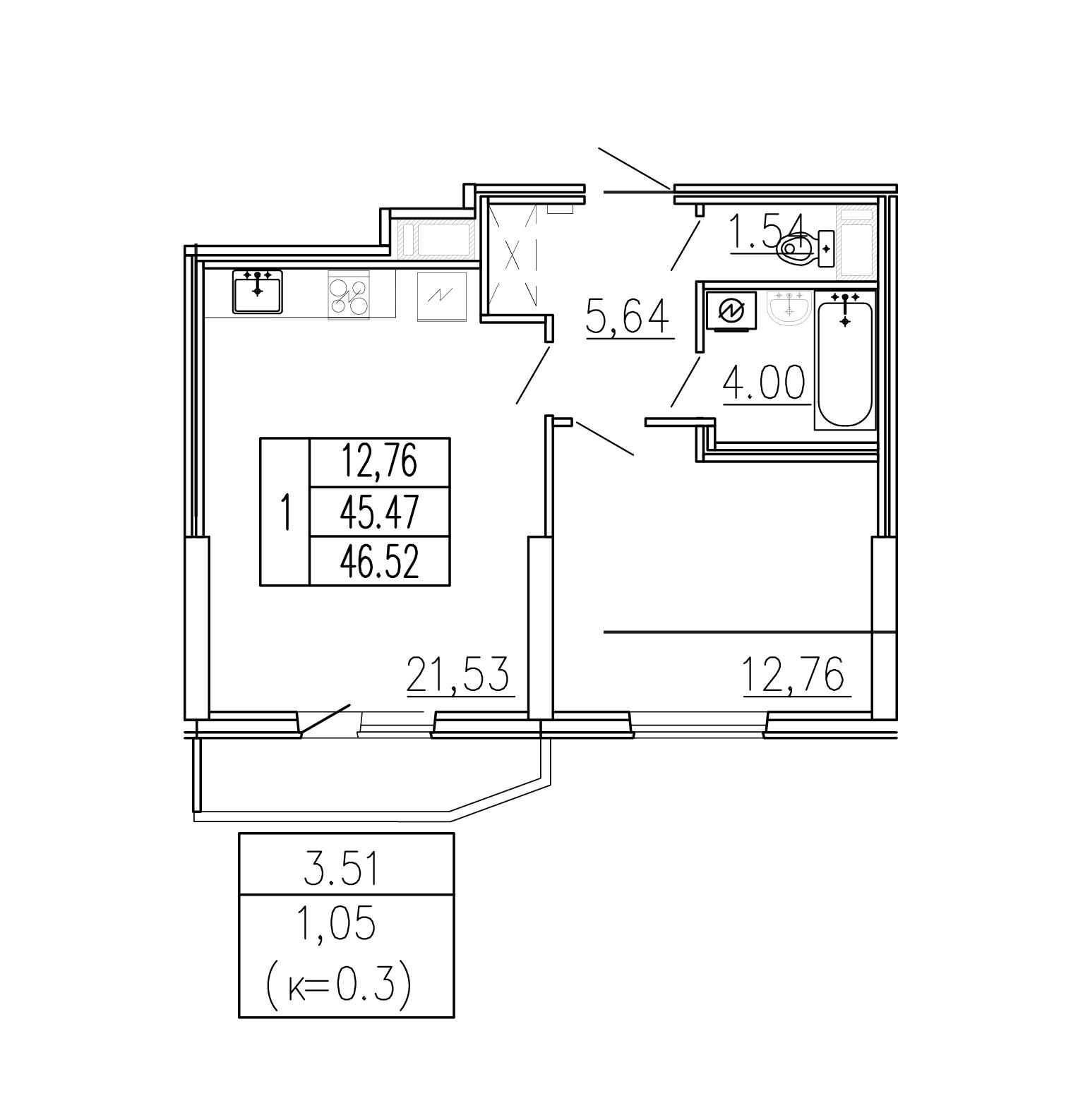 2-к.кв (евро), 48.97 м²