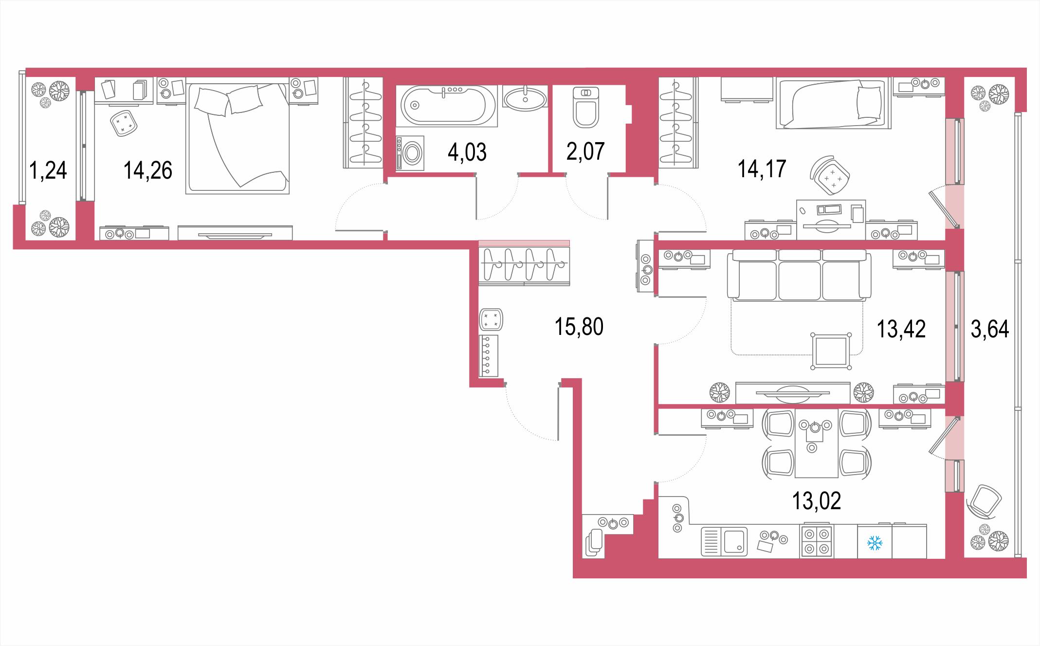 3-комнатная 86 м<sup>2</sup> на 20 этаже