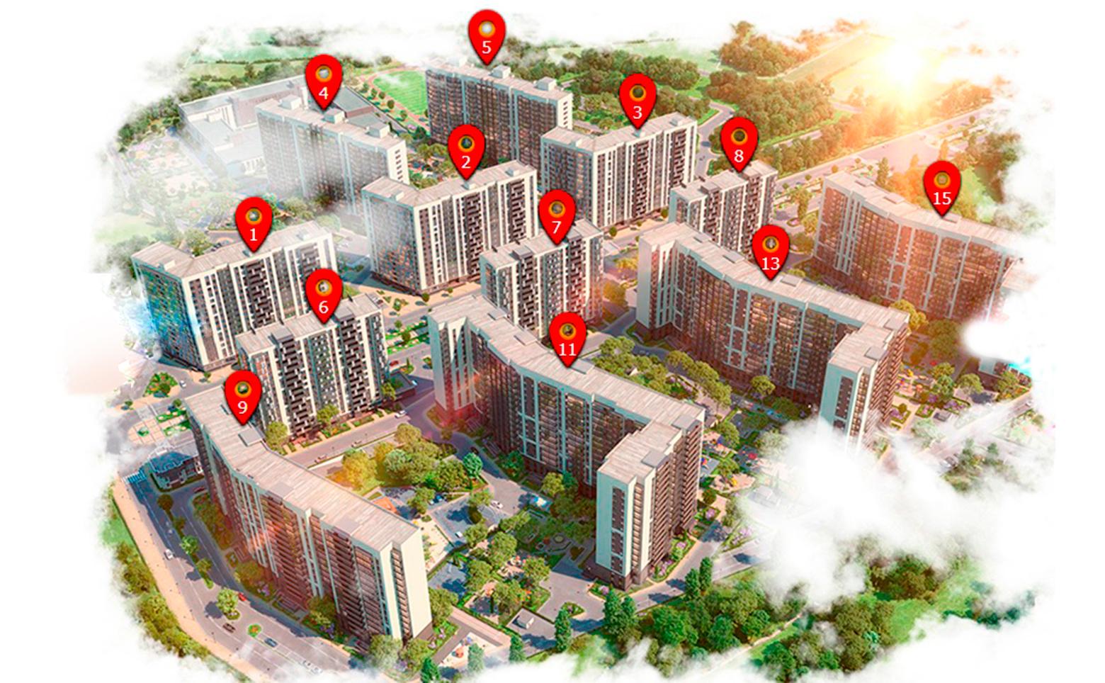 План жилого комплекса ЖК Солнечный