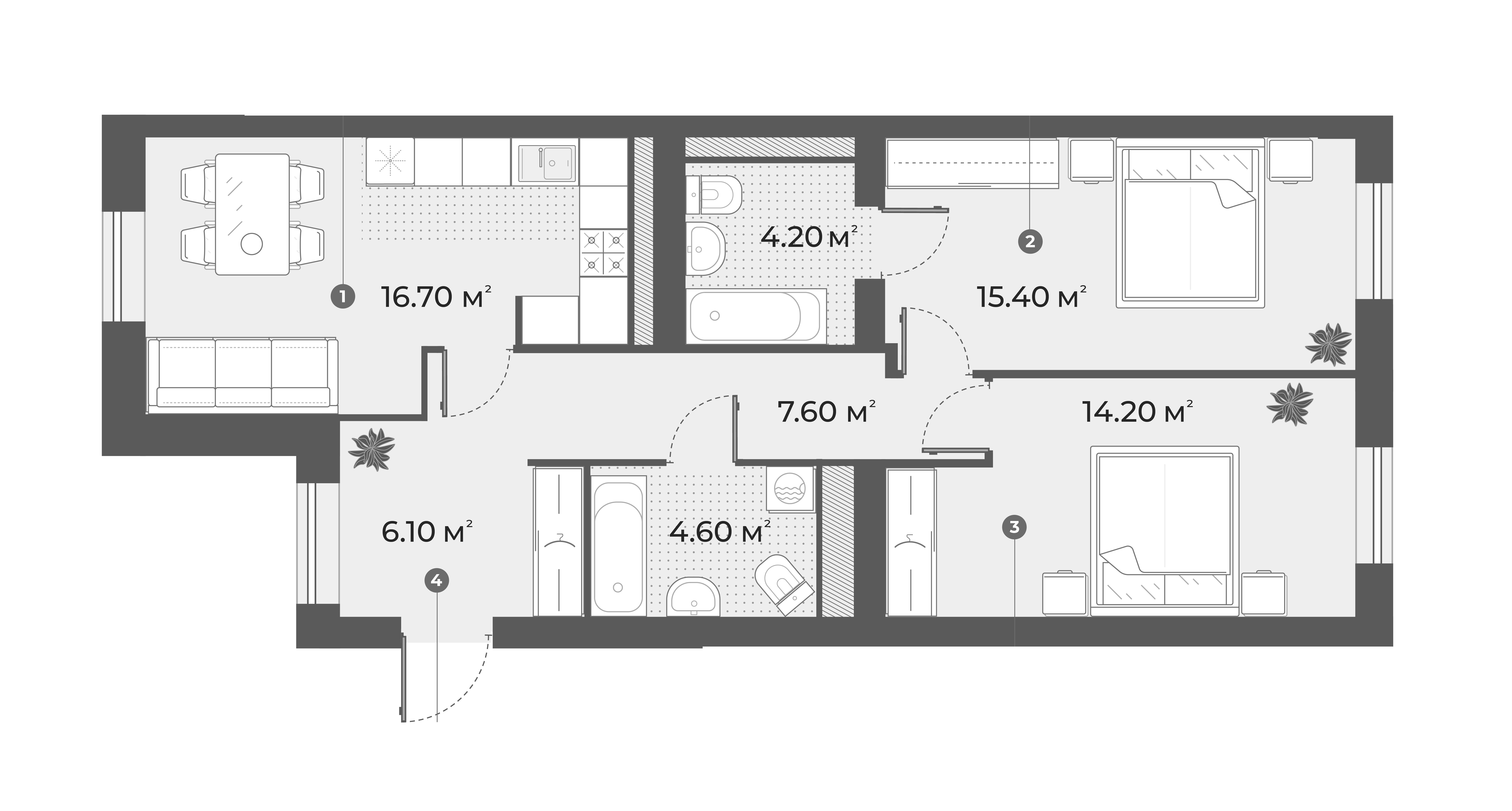 3-комнатная 68 м<sup>2</sup> на 5 этаже