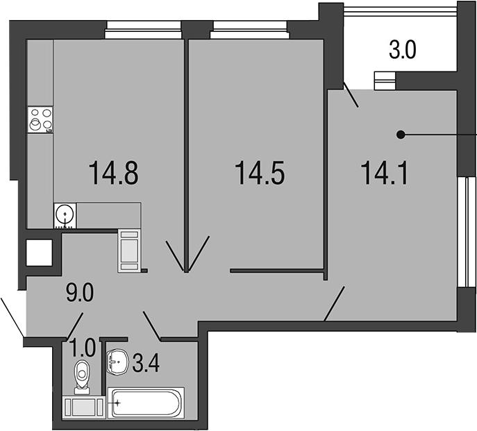 2-комнатная 59 м<sup>2</sup> на 17 этаже