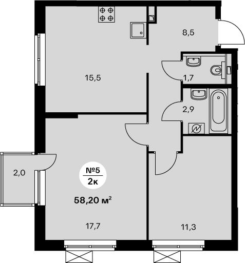 3-комнатная 59 м<sup>2</sup> на 15 этаже