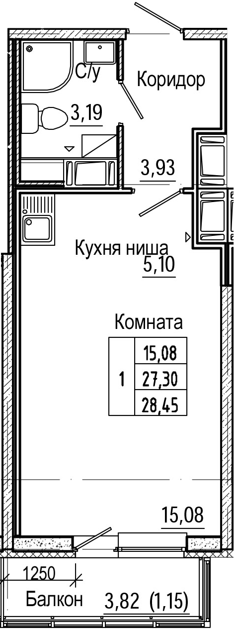 Студия 31 м<sup>2</sup> на 22 этаже