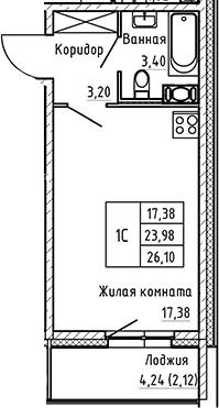 Студия 28 м<sup>2</sup> на 8 этаже