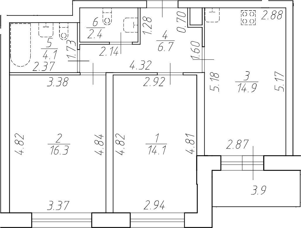 2-комнатная 62 м<sup>2</sup> на 1 этаже