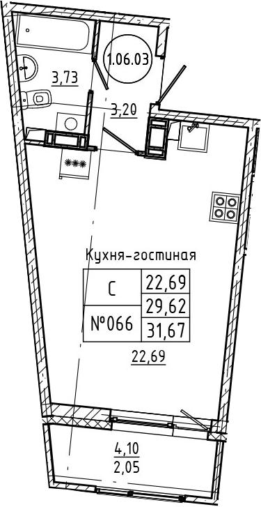 Студия 33 м<sup>2</sup> на 6 этаже