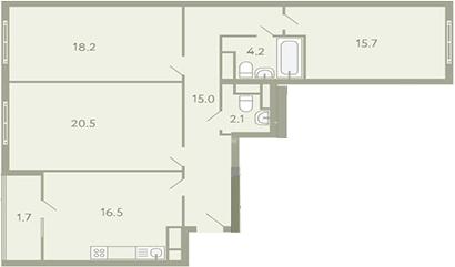 3-к.кв, 97.3 м²