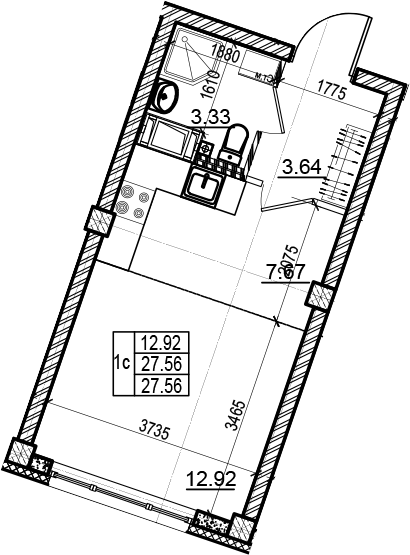 Студия 27 м<sup>2</sup> на 4 этаже