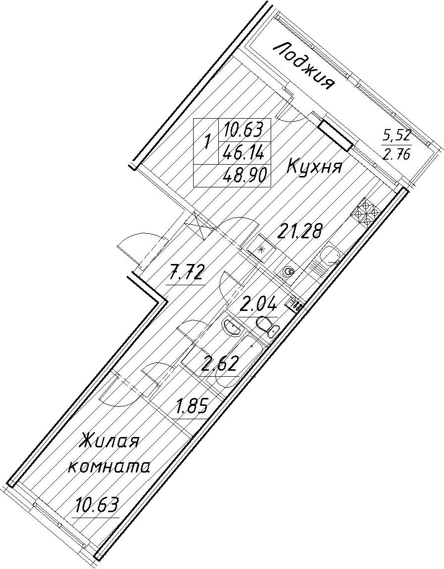2-комнатная 51 м<sup>2</sup> на 2 этаже