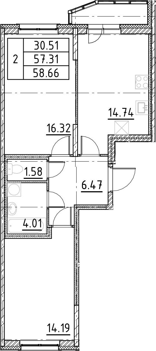 2-к.кв, 60.01 м²