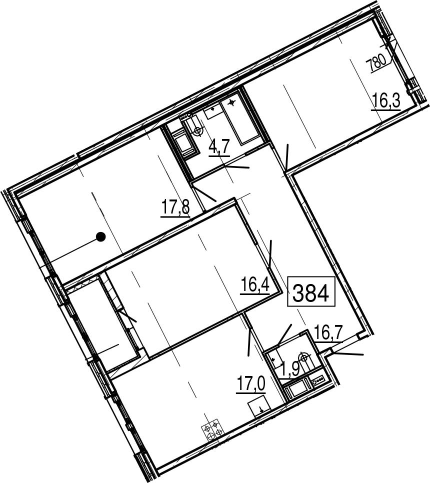 4-комнатная 94 м<sup>2</sup> на 2 этаже