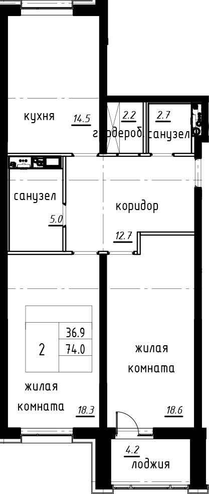 2-комнатная 78 м<sup>2</sup> на 3 этаже