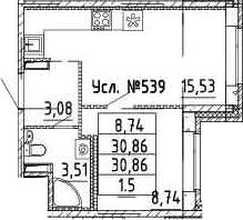 2-к.кв (евро), 30.86 м²