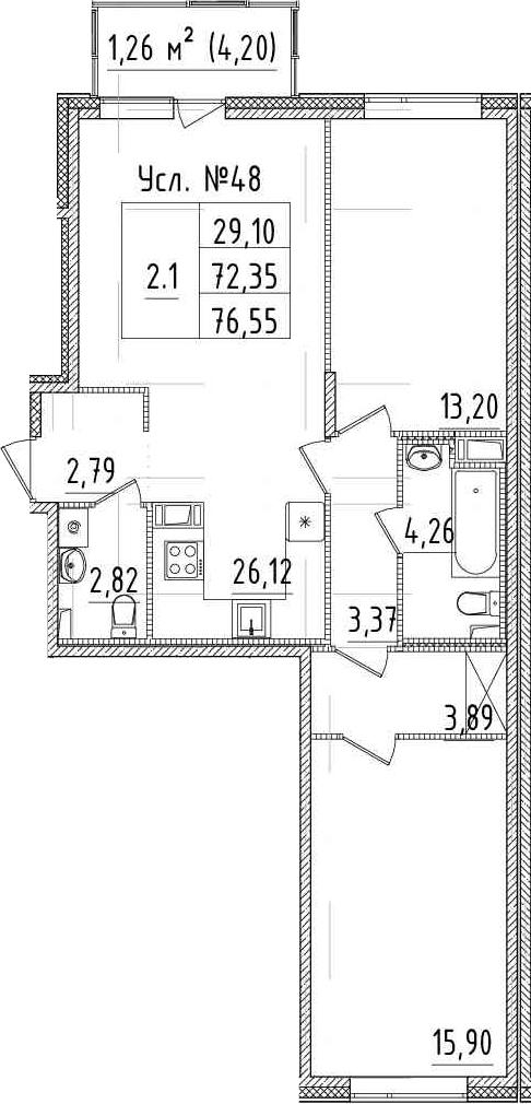 3-к.кв (евро), 76.55 м²
