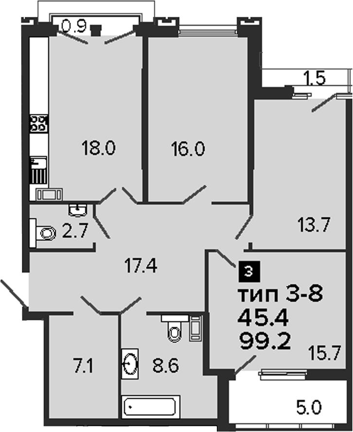 3-комнатная 106 м<sup>2</sup> на 7 этаже