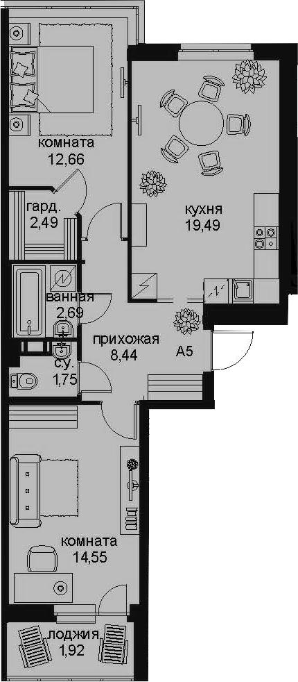 3-к.кв (евро), 68.47 м²