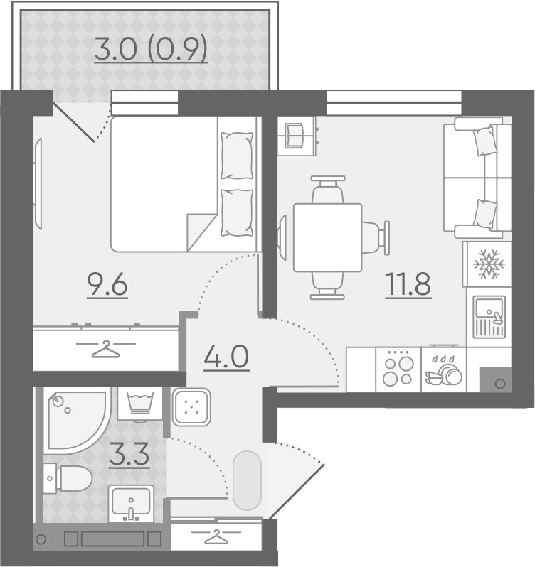 1-комнатная 31 м<sup>2</sup> на 9 этаже