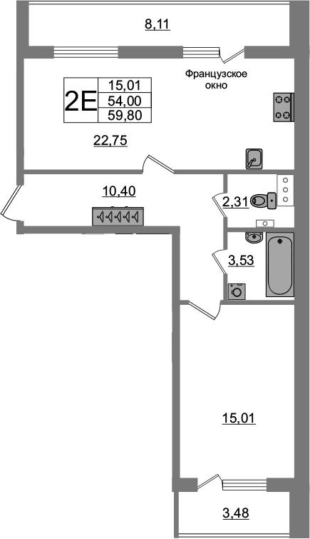 2-комнатная 65 м<sup>2</sup> на 2 этаже